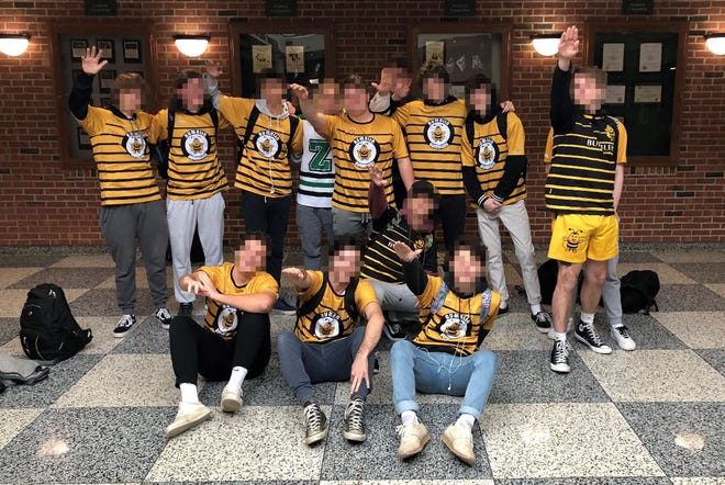 A photo posted to social media of students in Zionsville Community High School who appear to be giving the Nazi salute.