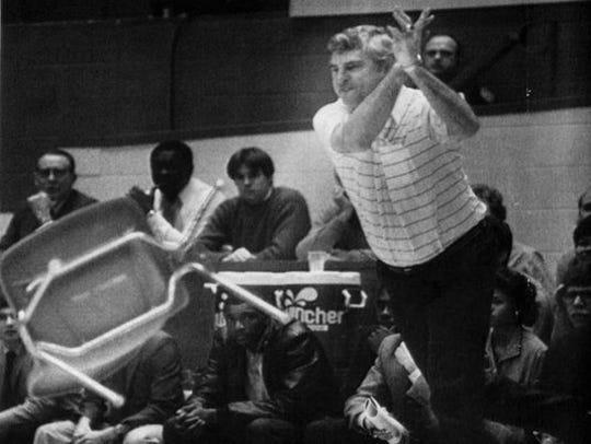 IU coach Bob Knight tosses a chair during the 1985 IU-Purdue game.