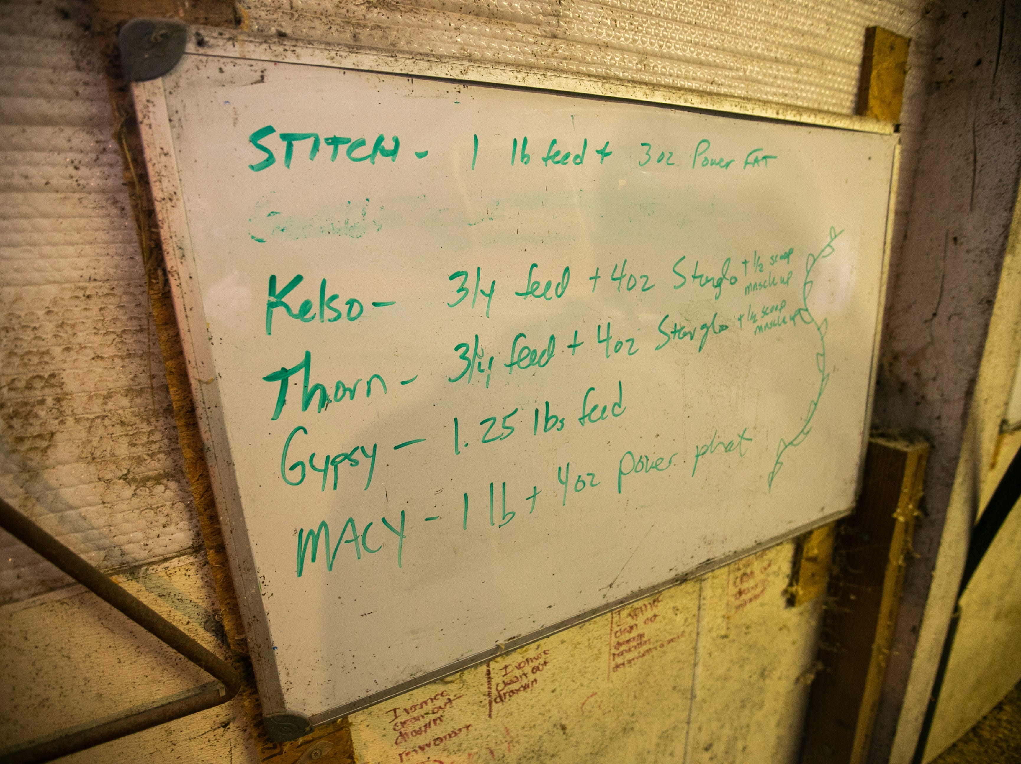 A whiteboard lists notes on Thursday, Jan. 17, 2019, at Natural Oak Pork farm in West Branch, Iowa.