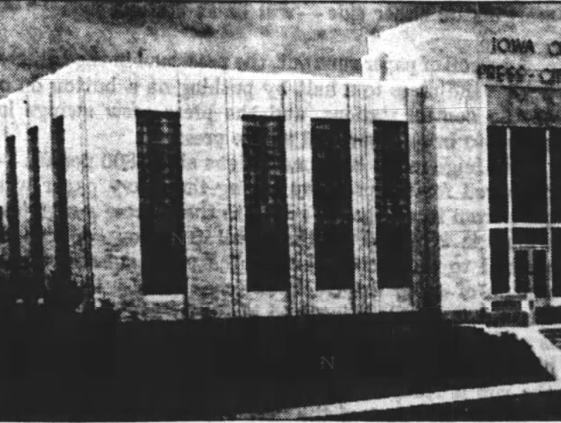 This 1937 file photo originally shows the exterior of the Press-Citizen offices on Washington Street in Iowa City, Iowa.