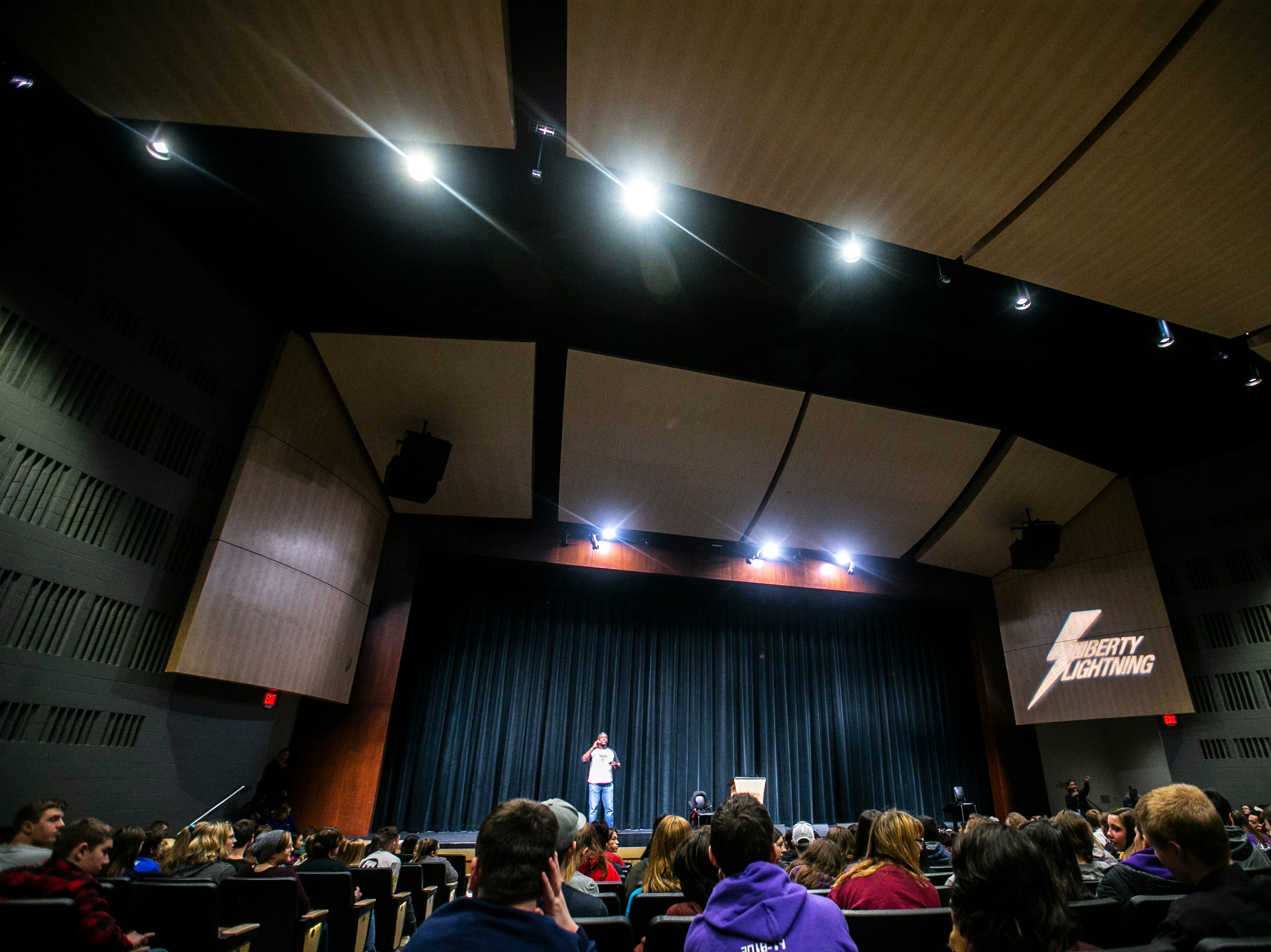 Harvie Herrington, a motivational speaker and former NFL defensive back, speaks during an MLK day event on Friday, Jan. 18, 2019, at Liberty High School in North Liberty, Iowa.