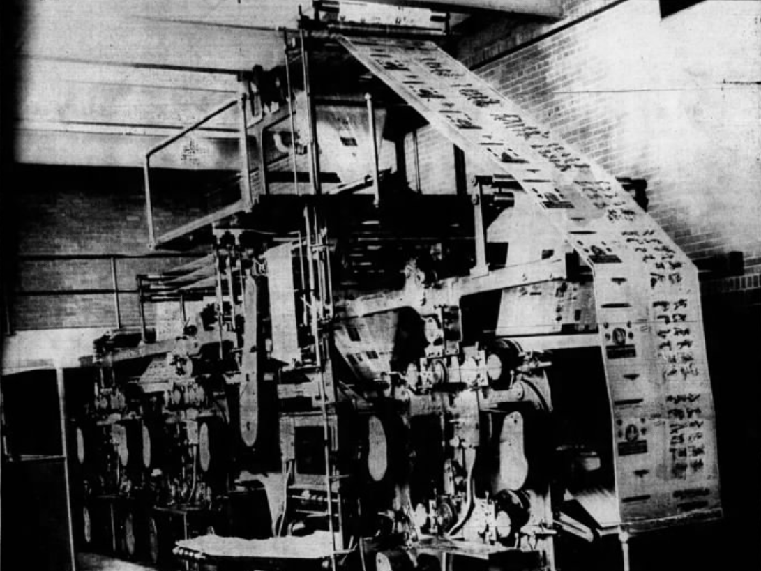 """This 1937 file photo originally was published with the caption, """"MODERN -- That's Production Department of Press-Citizen This is the new 24-page Goss press installed in the Press-Citizen building. It is equipped with three color units and is the latest development of the printing press,"""" at the Press-Citizen offices on Washington Street in Iowa City, Iowa."""
