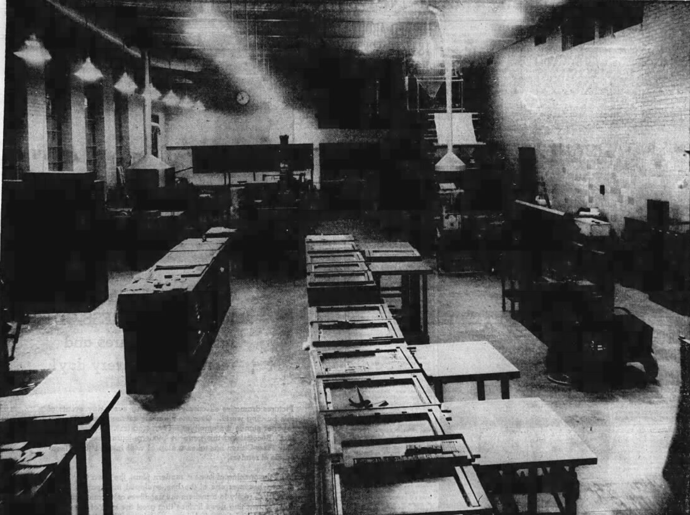 """This 1937 file photo originally was published with the caption, """"This is a perspective of the production department of the newspaper, looking from the east end over the make-up tables toward the new press,"""" at the Press-Citizen offices on Washington Street in Iowa City, Iowa."""