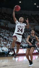 Mississippi State's Jordan Danberry (24) scores on a layoup. Mississippi State played South Carolina in a women's SEC basketball game at Humphrey Coliseum on Thursday, January 17, 2019. Photo by Keith Warren