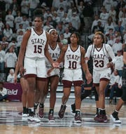 Mississippi State's Teaira McCowan (15), Anriel Howard (5), Jazzmun Holmes (10) and Bre'Amber Scott (23) head upcourt after a stop late in the game. Mississippi State played South Carolina in a women's SEC basketball game at Humphrey Coliseum on Thursday, January 17, 2019. Photo by Keith Warren