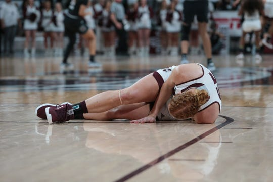 Mississippi State sophomore forward Chloe Bibby is out for the rest of the season after suffering a left knee injury during the Bulldogs' win over South Carolina. Photo by Keith Warren