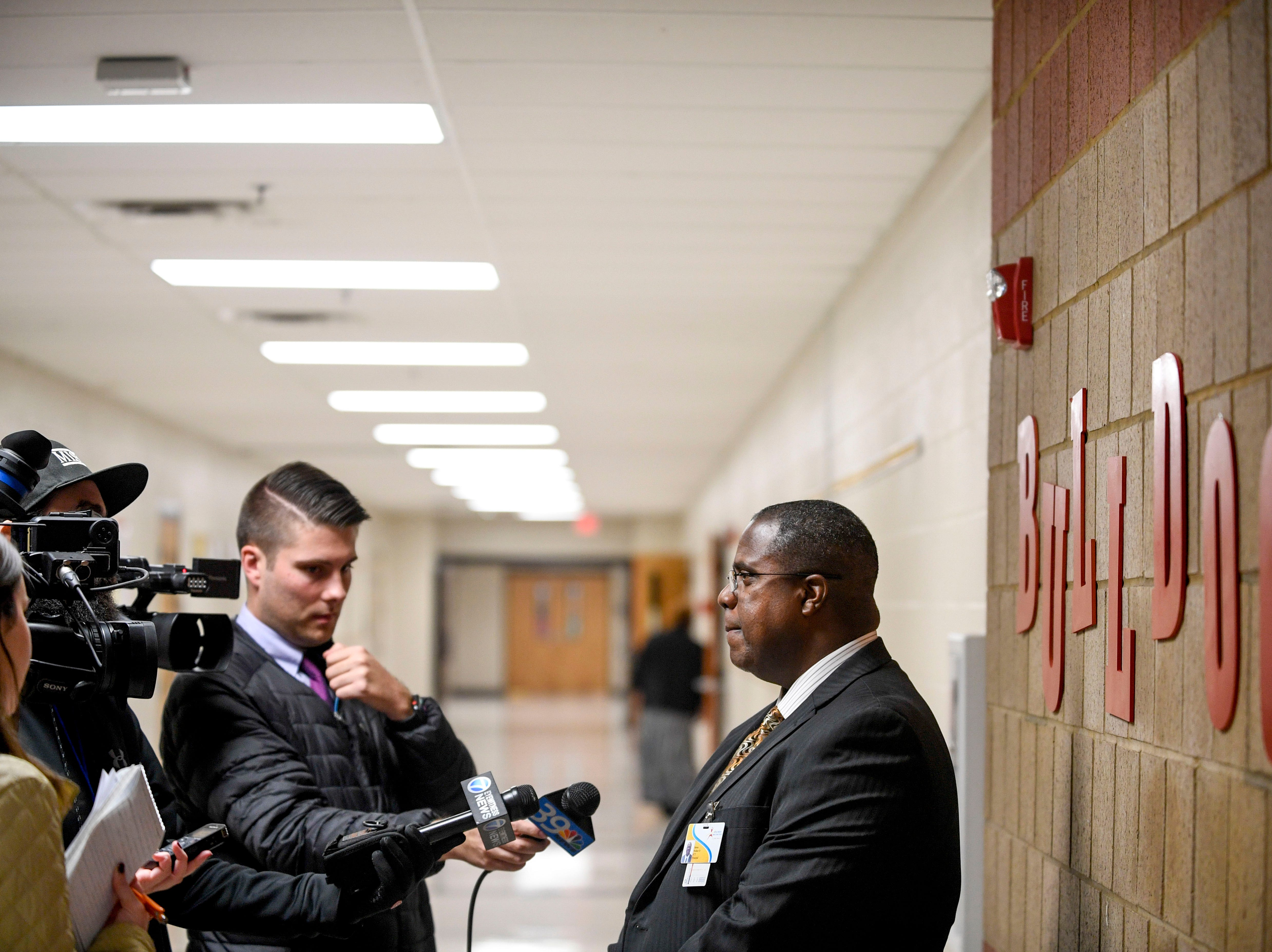 Media interviews J.C.T. Middle School Principal James Walker at Jackson Careers and Technology Middle School  in Jackson, Tenn., on Friday, Jan. 18, 2019.