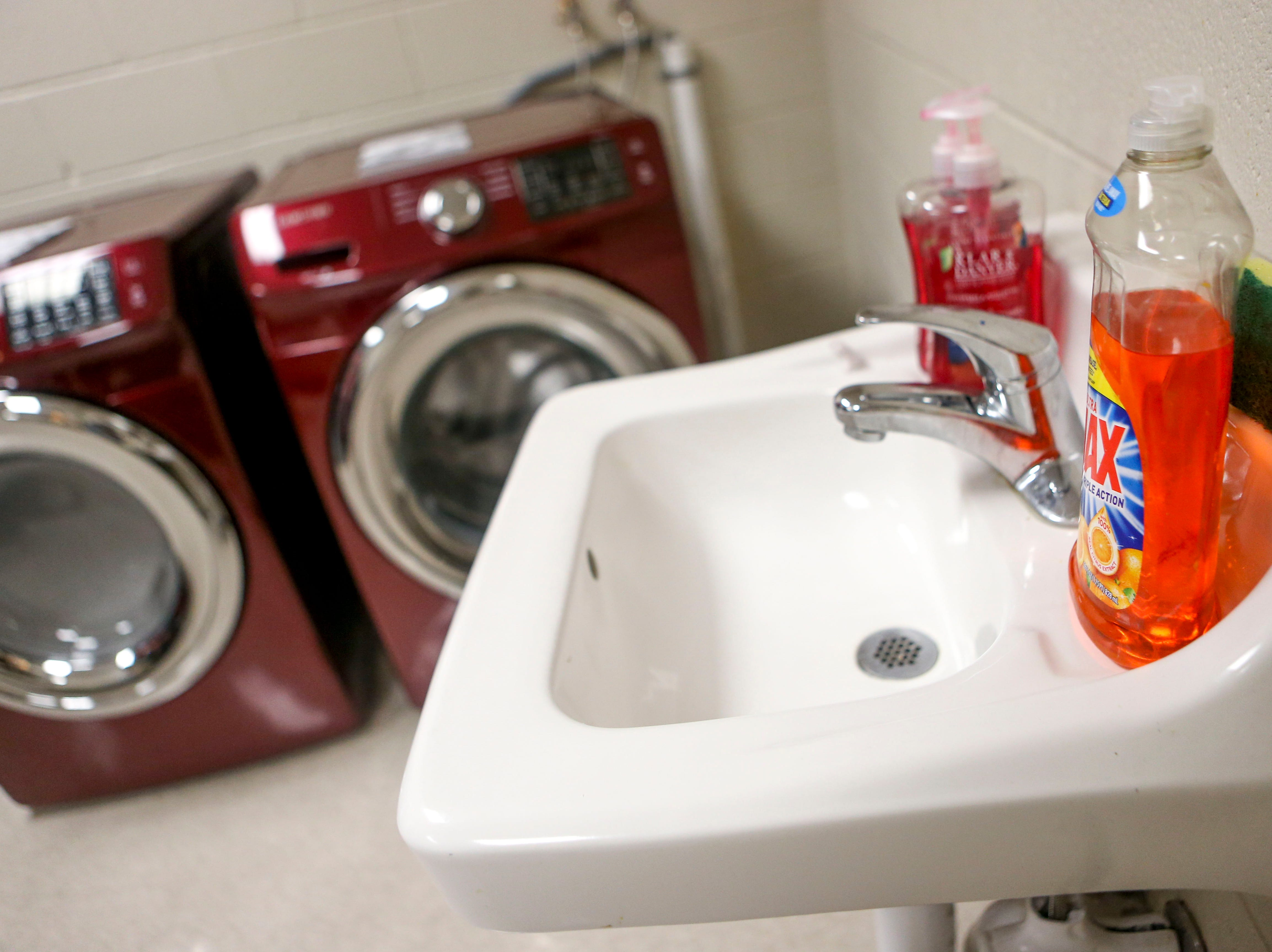 A sink with dish and hand soap can be seen in the same room as a newly donated washer and dryer set at Jackson Careers and Technology Middle School  in Jackson, Tenn., on Friday, Jan. 18, 2019.