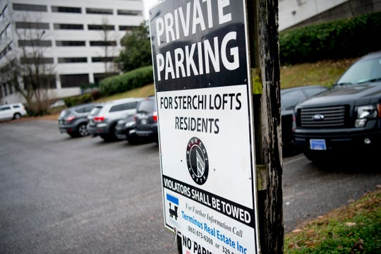 The Strechi Lofts parking lot on the corner of Gay and Summit Hill Drive in Knoxville on Friday. The lease on the lot will soon run out and be converted to a public lot, and is planned to be developed.