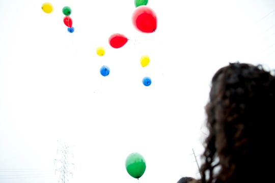 Students release their balloons into the sky during a birthday celebration for Martin Luther King Jr. at Pond Gap Elementary School in Knoxville, Tennessee on Friday, January 18, 2019. The idea to release balloons with messages to Dr. King came from second grader Carlos De La Rosa, who wanted to thank him for changing the world for the better.