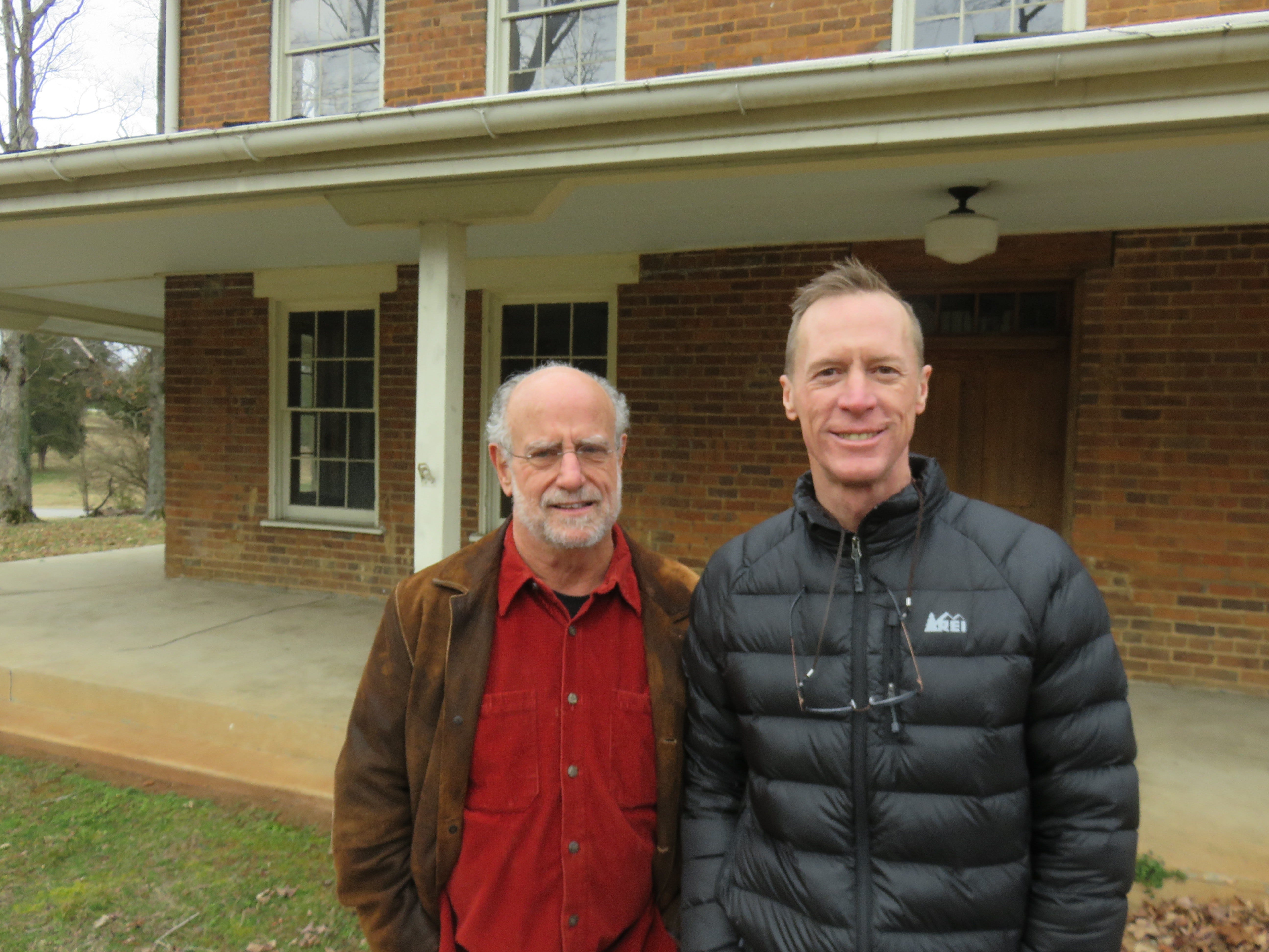 Owner Tom Weiss, left, and Realtor Michael Wood stand outside the Lones-Dowell home off Middlebrook Pike.