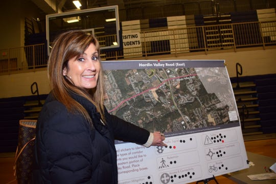 Hardin Valley resident Danielle Stokes at the Hardin Valley Mobility Study community meeting held at Hardin Valley Academy Tuesday, Jan. 15. She said she's concerned for the safety of drivers on Hardin Valley Rd. and there needs to be more stoplights for people trying to exit and enter the congested road.