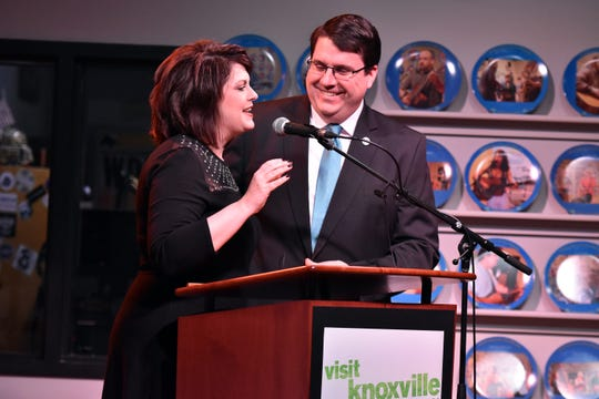 Lanna Smith, Miss Tennessee 1997, makes the announcement on the location of the 2019 Miss Tennessee competition in Knoxville. She is pictured with her husband, Eddie Smith.