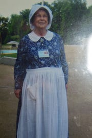 Charlene Asbury dressed as a pioneer woman during a competition around 2001. She won $10 as the best dressed.