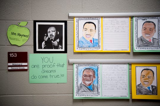 Students from Mrs. Maynard's second grade class wrote reflections on Martin Luther King Jr. at Pond Gap Elementary School in Knoxville, Tennessee on Friday, January 18, 2019. The idea to release balloons with messages to Dr. King came from second grader Carlos De La Rosa, who wanted to thank him for changing the world for the better.