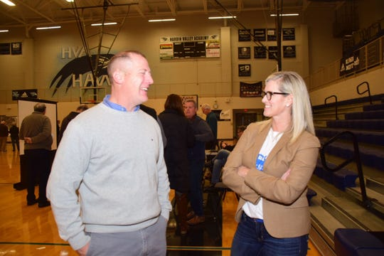 Hardin Valley Middle School principal Cory Smith with Hardin Valley Planning Advocates founder Kim Frazier at the Hardin Valley Mobility Study community meeting held at Hardin Valley Academy Tuesday, Jan. 15.
