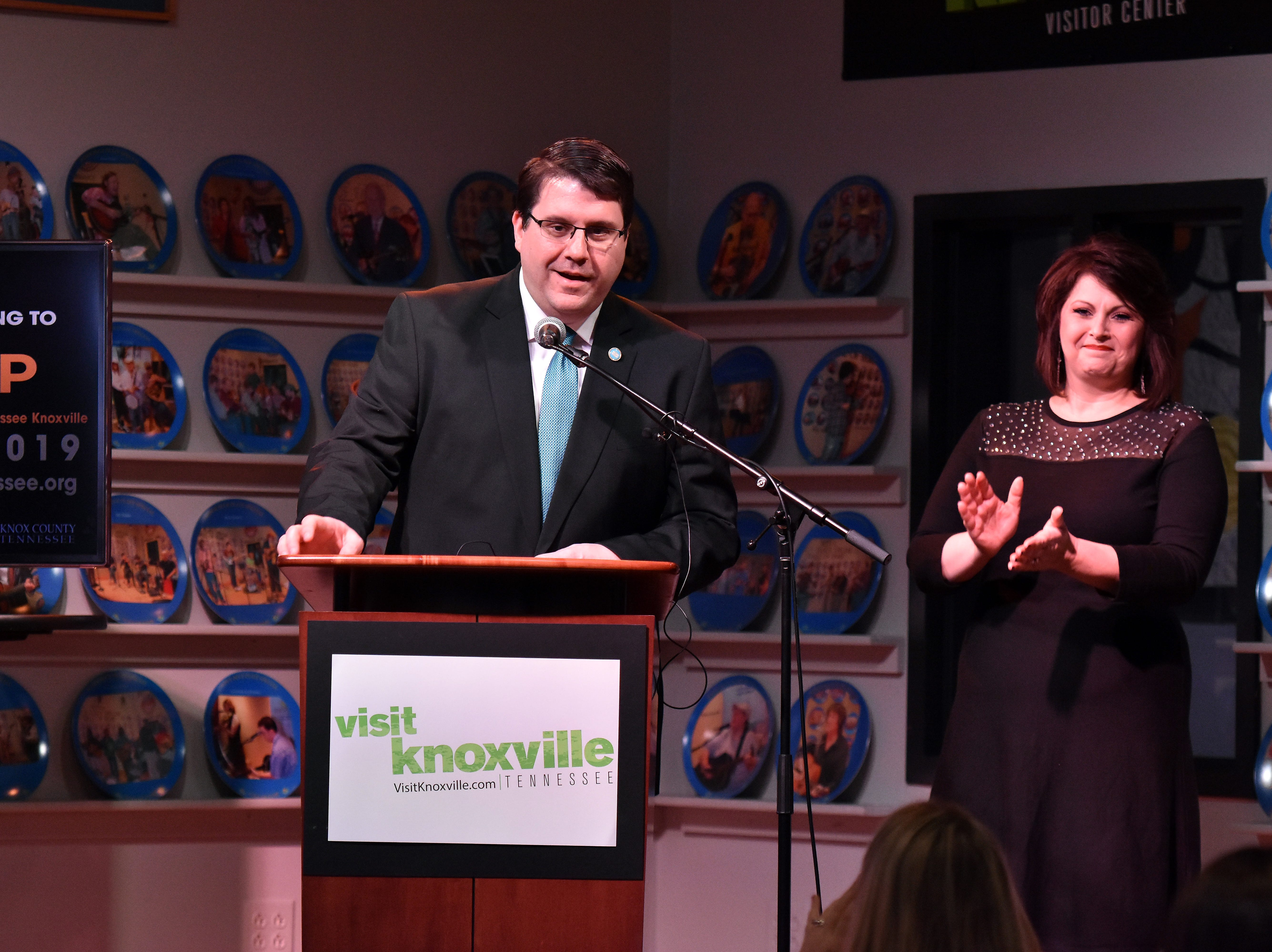 Eddie Smith, along with wife Lanna, make the announcement of the Miss Tennessee pageant moving to Knoxville, after more than 60 years in Jackson, Tn.