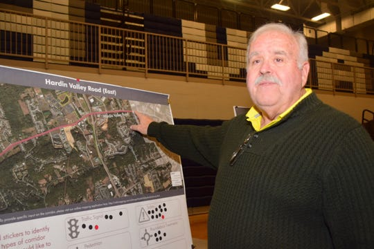 Steve Ritter said traffic backs up from Southern Shades subdivision all the way back to Pellissippi Parkway at the Hardin Valley Mobility Study community meeting held at Hardin Valley Academy Tuesday, Jan. 15.