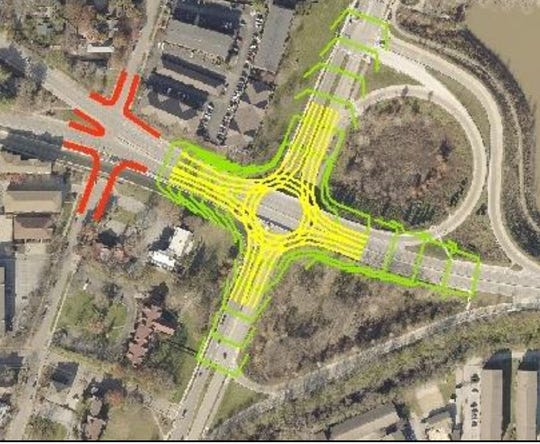 Among the ideas in a proposed West Lafayette Downtown Plan is building a roundabout in the middle of Harrison Bridge to eliminate the on-ramps and off-ramps at North River Road.