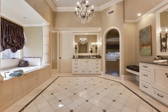 The master bath is a soothing oasis.