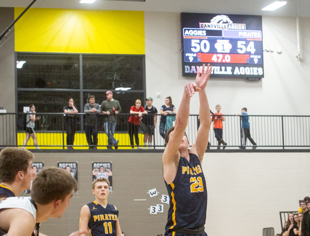 Aaron Bearss, Pewamo-Westphalia Jr., sinks free throw to cinch game in overtime Thursday, Jan. 17, 2019.