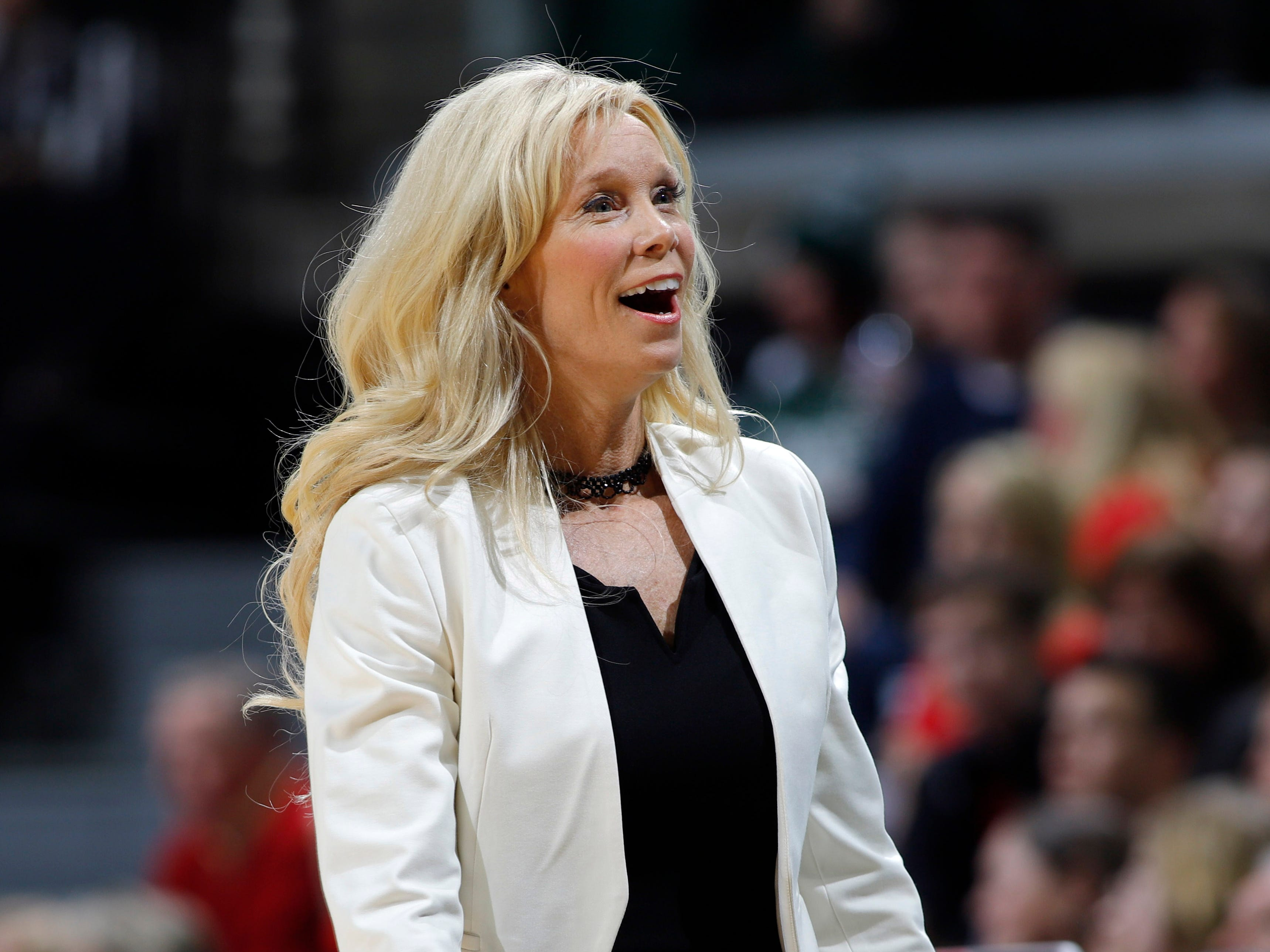 Michigan State coach Suzy Merchant reacts to a call during the game against Maryland, Thursday, Jan. 17, 2019, in East Lansing, Mich.