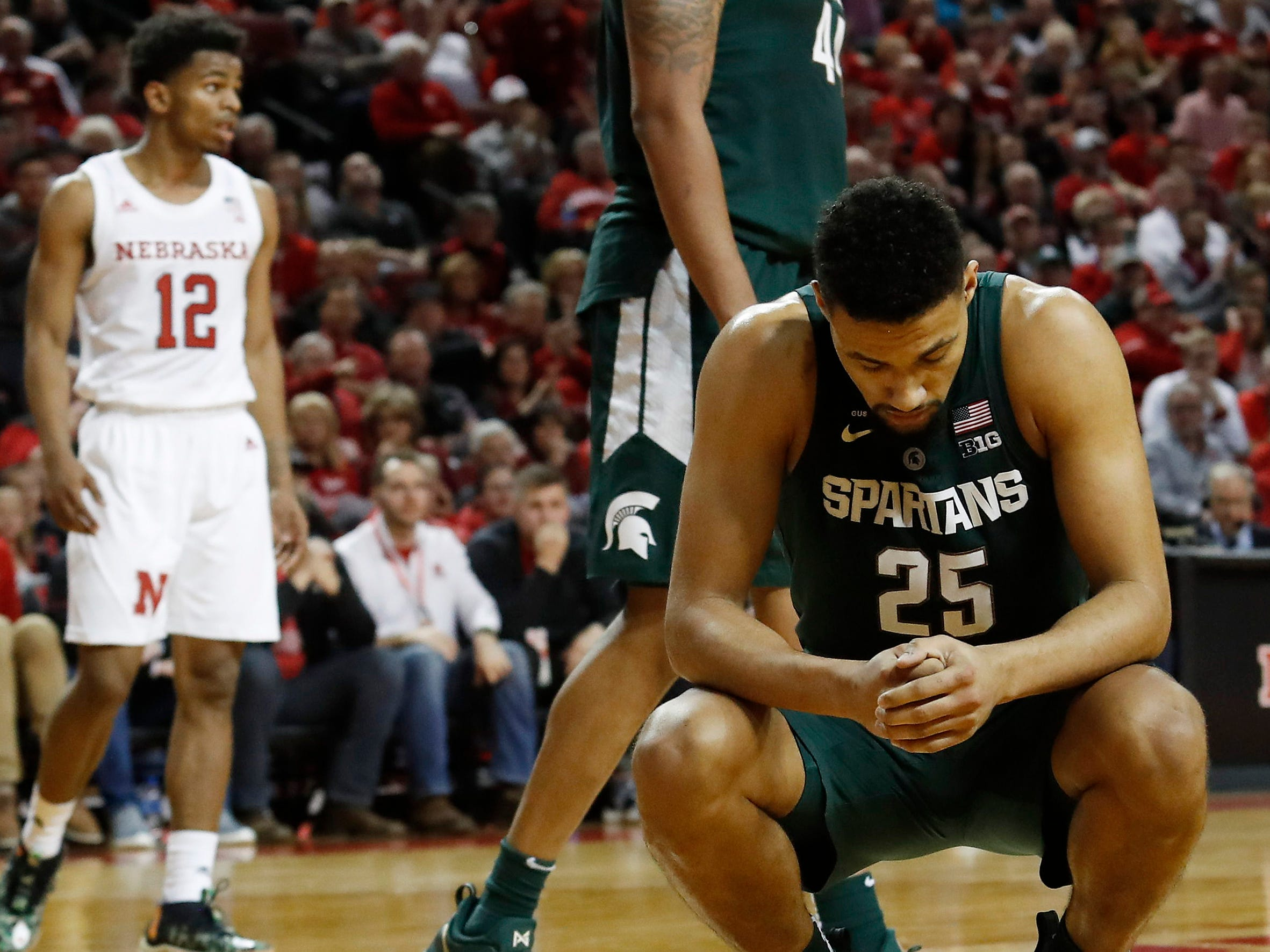 Michigan State Spartans forward Kenny Goins (25) reacts after a foul against the Nebraska Cornhuskers in the second half at Pinnacle Bank Arena. Michigan State won 70-64.