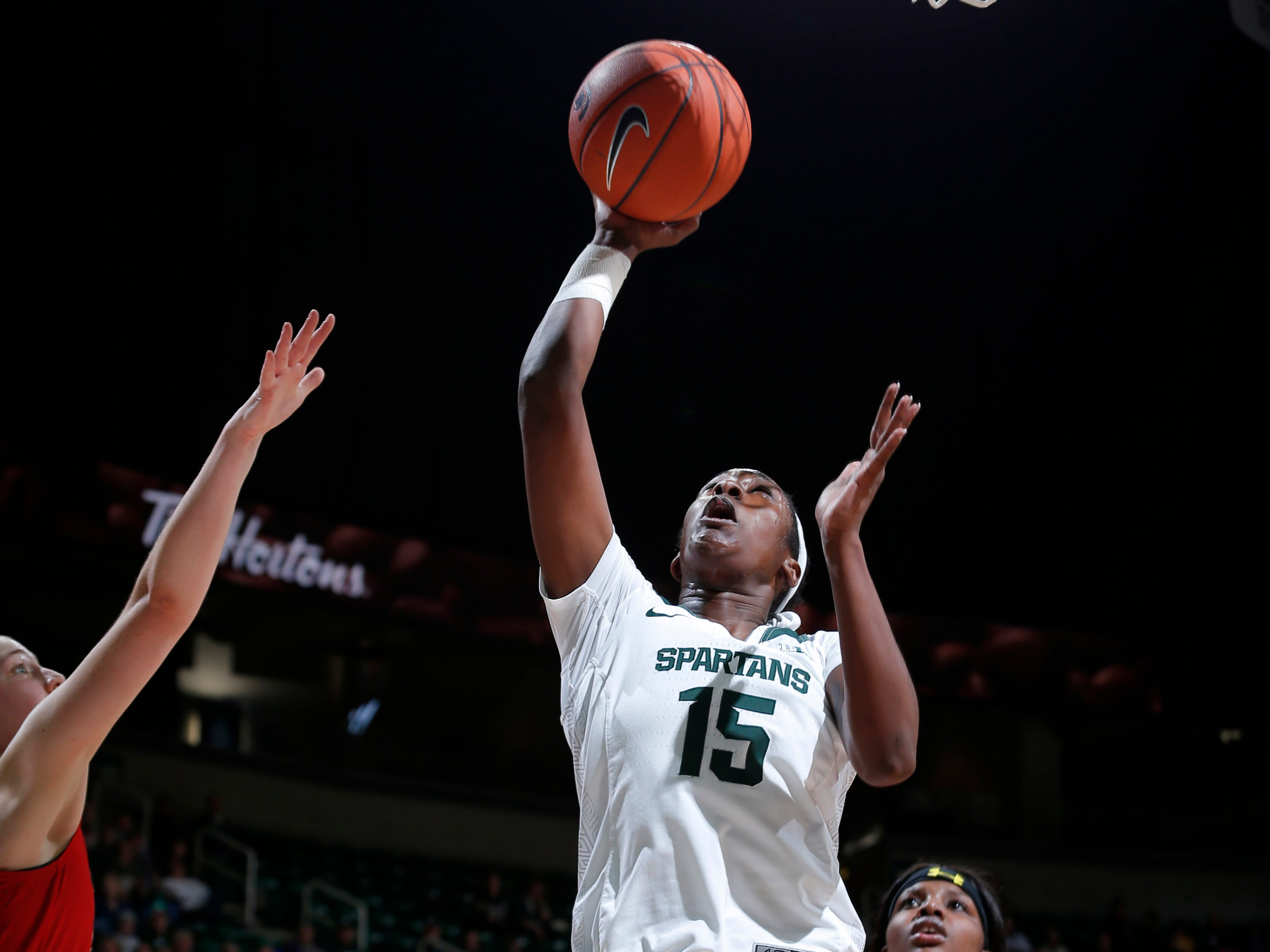 Michigan State's Victoria Gaines shoots against Maryland, Thursday, Jan. 17, 2019, in East Lansing, Mich.