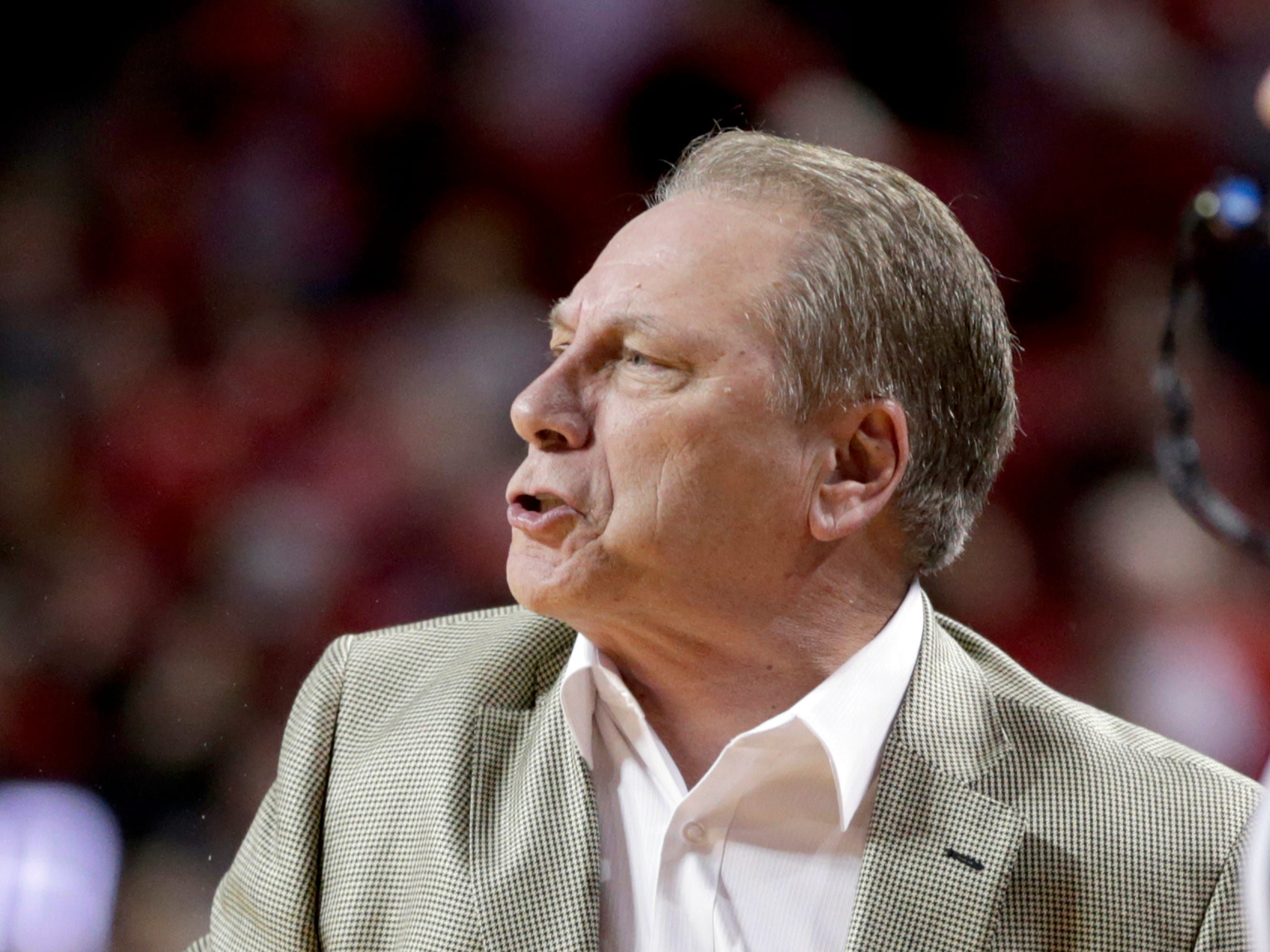Michigan State coach Tom Izzo follows the first half of an NCAA college basketball game against Nebraska in Lincoln, Neb., Thursday, Jan. 17, 2019.