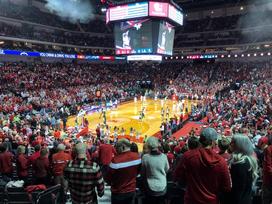 A sold-out Pinnacle Bank Arena on Thursday night, just before tipoff against Michigan State.