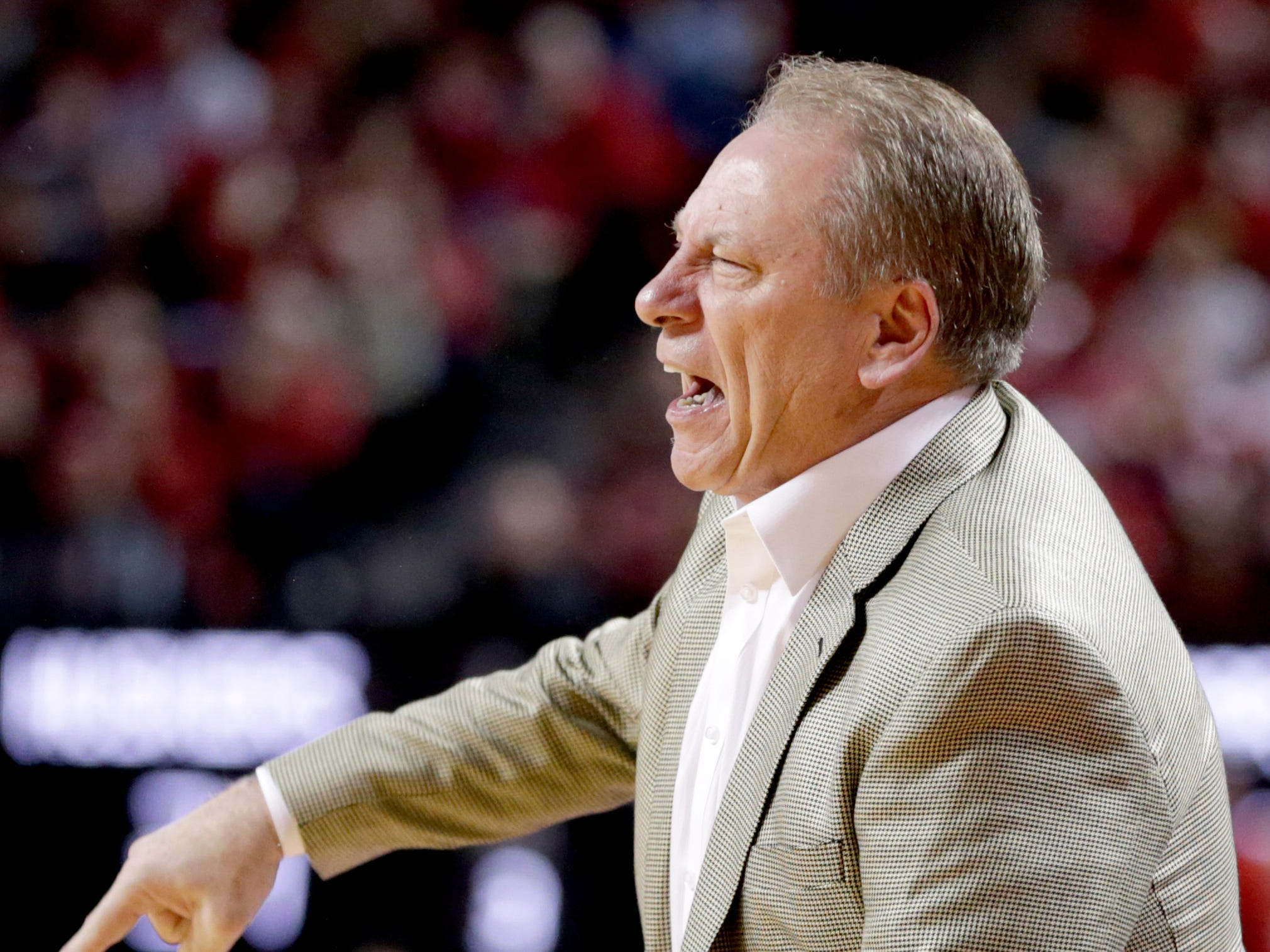Michigan State coach Tom Izzo disputes a call during the second half of an NCAA college basketball game against Nebraska in Lincoln, Neb., Thursday, Jan. 17, 2019. Michigan State won 70-64.