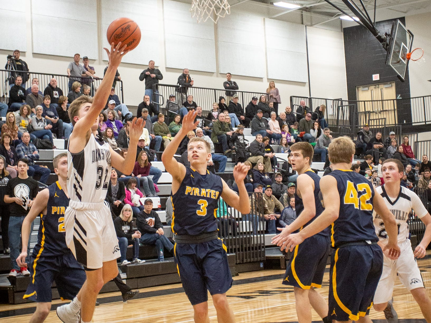 Dansville senior Devin Patrick puts up a shot during a game against Pewamo-Westphalia in January.