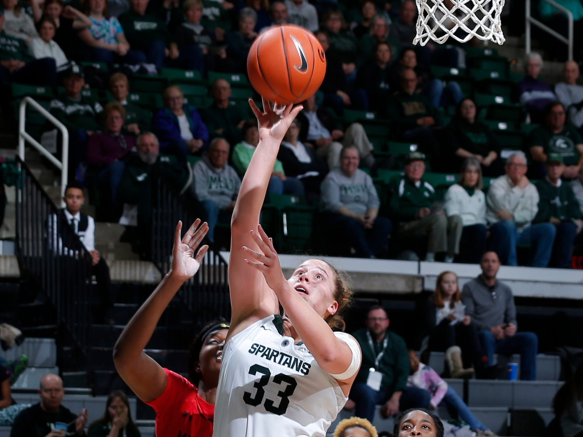 Michigan State's Jenna Allen puts up a shot against Maryland, Thursday, Jan. 17, 2019, in East Lansing, Mich.