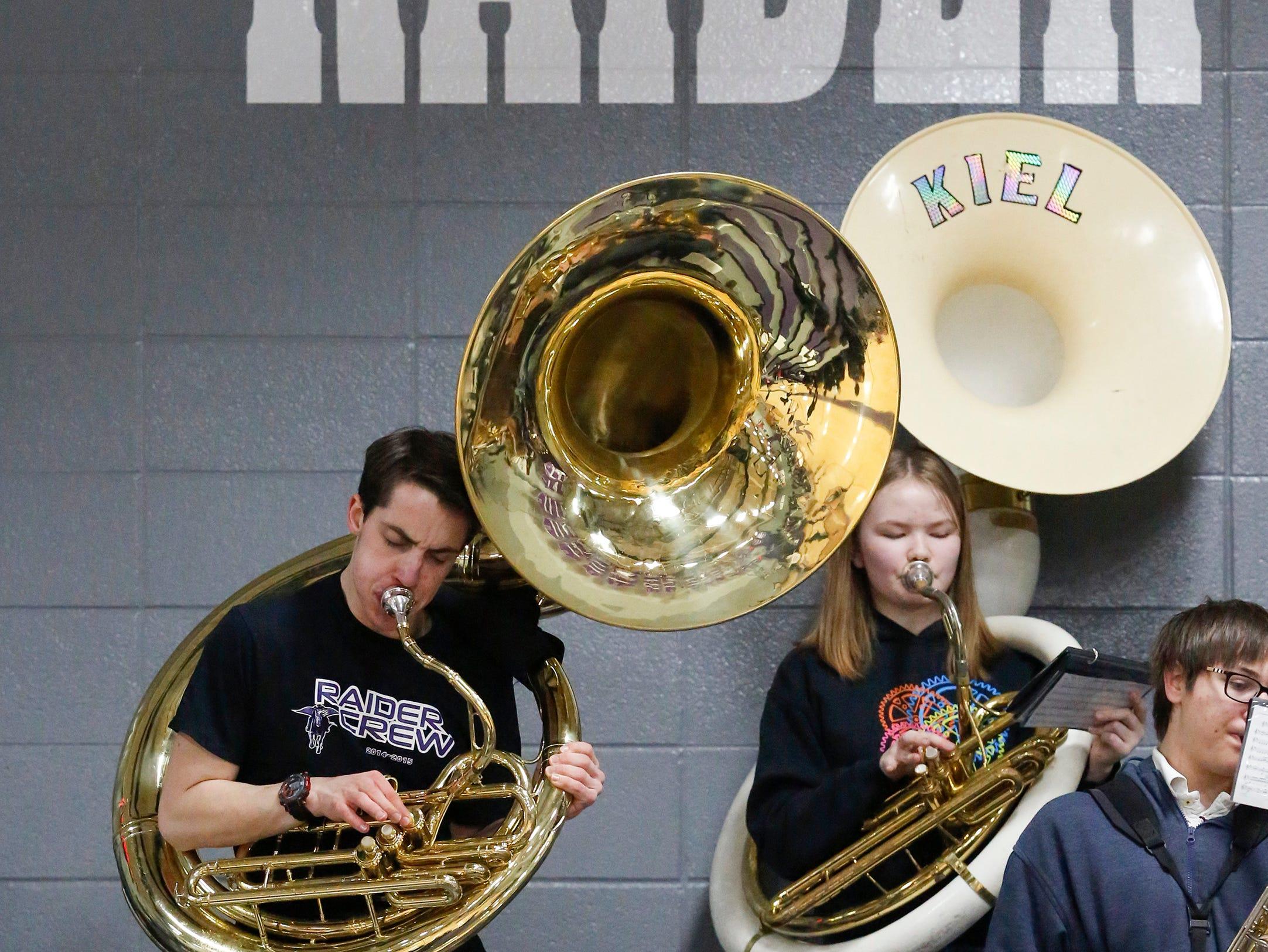 Kiel's tuba players rock out before a girls basketball EWC matchup against Roncalli at Kiel High School Thursday, January 17, 2019, in Kiel, Wis. Joshua Clark/USA TODAY NETWORK-Wisconsin
