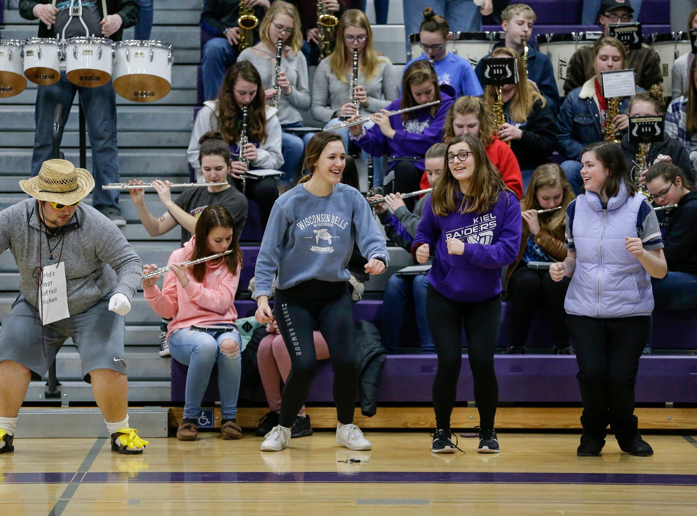 Kiel band members do the chicken dance before a girls basketball EWC matchup against Roncalli at Kiel High School Thursday, January 17, 2019, in Kiel, Wis. Joshua Clark/USA TODAY NETWORK-Wisconsin