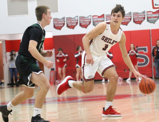 Shelby's Uriah Schwemley, playing in Friday's 41st News Journal All-Star Basketball Classic is a three-sport standout. He is an All-Ohio football player and a state champion high jumper.