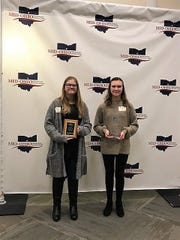 Runner-up Natalie Holmes, left, and 2019 Richland County Spelling Bee Champion Alexis Shaver.