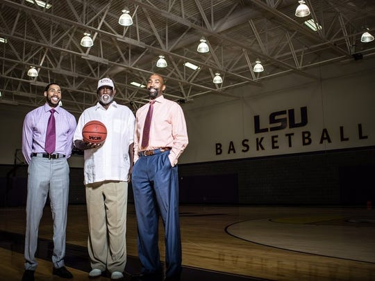 Grizzlies shooting guard Garrett Temple, left, is seen with his father, Collis II, center, and brother Collis III, right.
