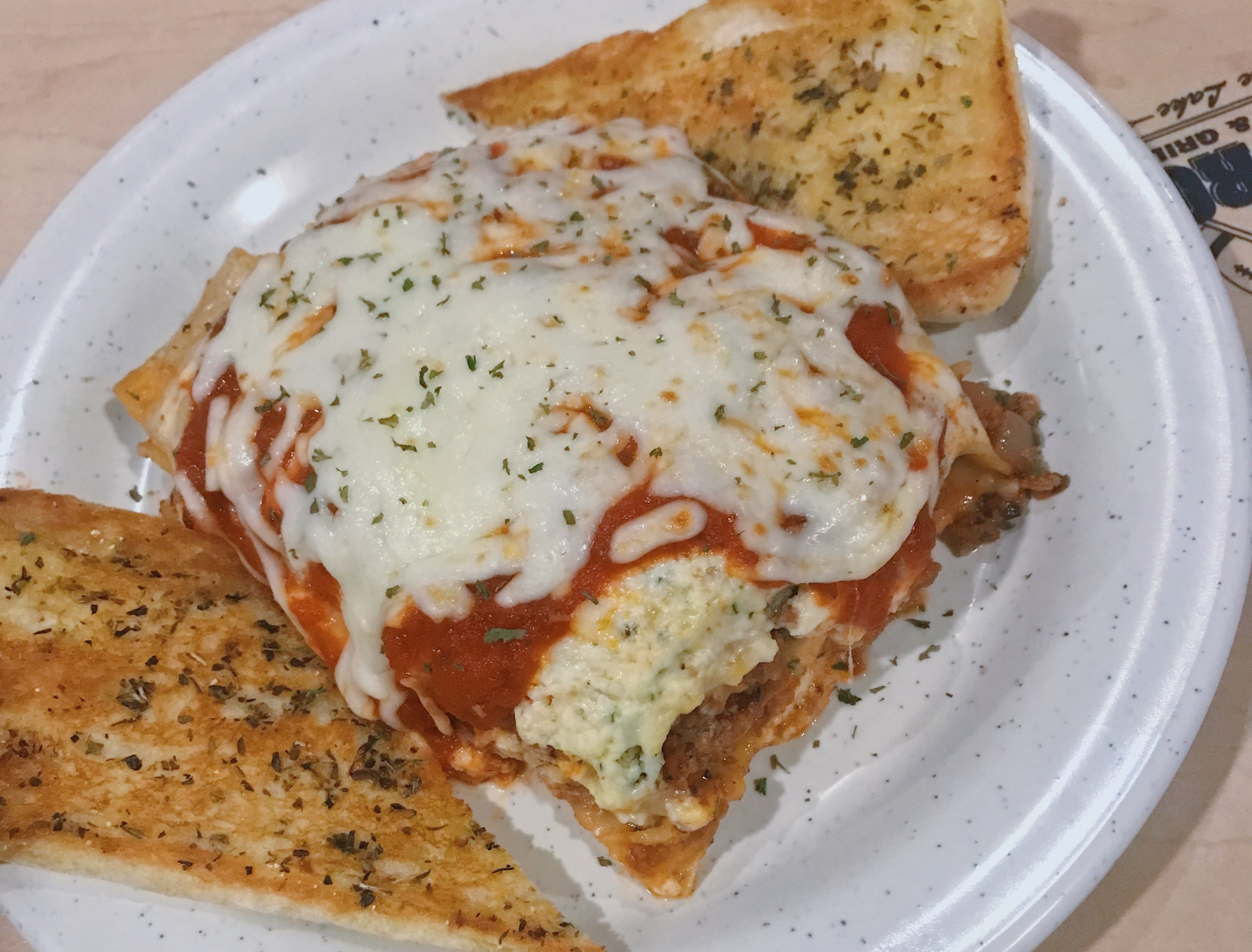 Curly's Waterfront's lasagna is a popular special.