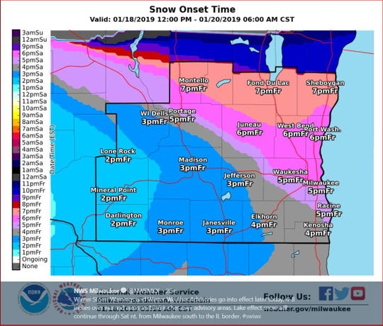 A winter storm warning has been issued for much of southeastern Wisconsin from 6 p.m. Friday to midnight Saturday. The Milwaukee area could get hit with up to 9 inches of snow.