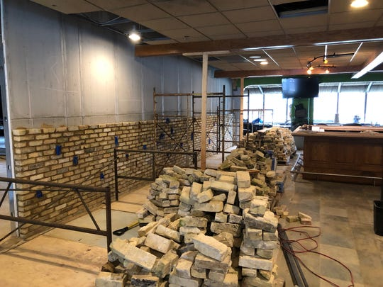 The wall at the bar of Ella's Public House, a new restaurant in a former banquet space in the town of Genesee, will be made from Cream City brick reclaimed from the Schlitz brewery in downtown Milwaukee. The new restaurant is expected to open by May.