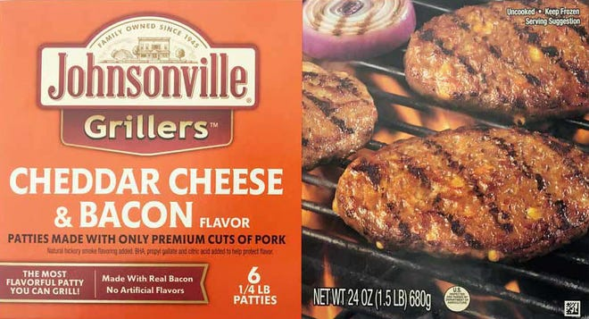 Johnsonville is recalling cheddar cheese and bacon flavored Grillers patties.