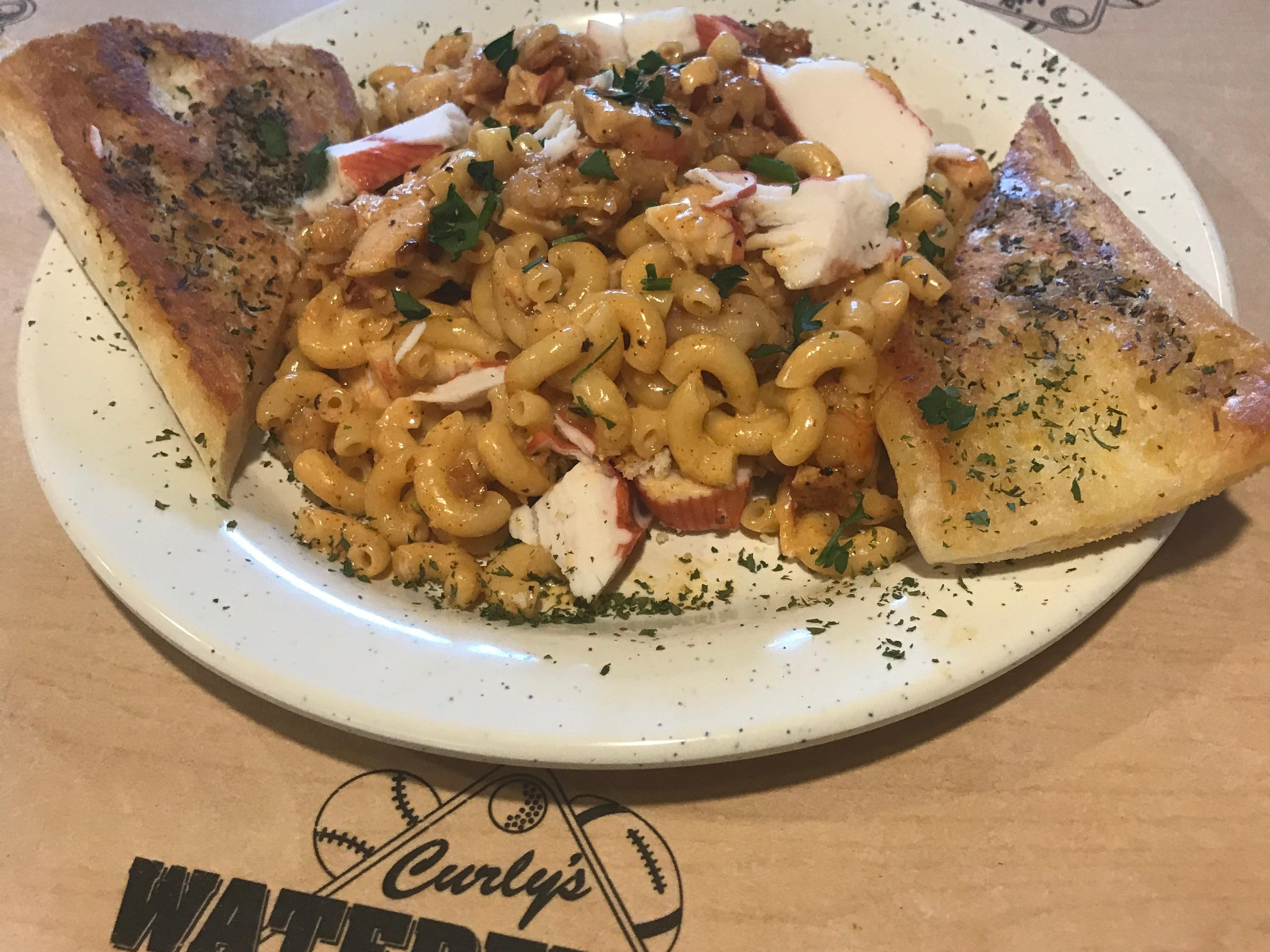 Curly's kitchen manager Genaro Hernandez has been hard at work coming up with innovative new specials like the Shrimp & Crab Mac N Cheese.