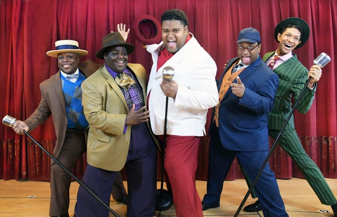 """Shawn Holmes (left), Kevin James Sievert, Lorenzo Rush Jr., James Carrington and Sean Anthony Jackson play the """"Five Guys Named Moe"""" in Skylight Music Theatre's production of the musical based on the songs of Louis Jordan."""