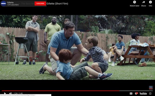 This image from Gillette's Youtube account shows a Gillette advertisement. The ad for men invoking the #MeToo movement is sparking online backlash, with some saying it talks down to men and calling for a boycott. Gillette says it doesn't mind sparking a discussion, and since it debuted  Jan. 14, the online-only ad has garnered millions of views on YouTube, a level of buzz and chatter that any brand would covet.