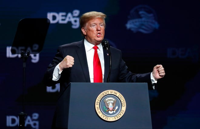 President Donald Trump speaks at the American Farm Bureau Federation convention in New Orleans, Monday, Jan. 14, 2019.
