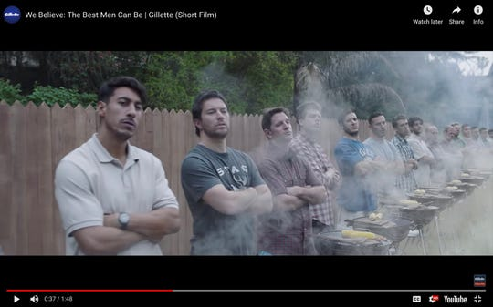 This image from Gillette's Youtube account shows a Gillette advertisement. The ad for men invoking the #MeToo movement is sparking online backlash, with some saying it talks down to men and calling for a boycott. Gillette says it doesn't mind sparking a discussion, and since it debuted Monday, Jan. 14, 2019, the online-only ad has garnered millions of views on YouTube, a level of buzz and chatter that any brand would covet.
