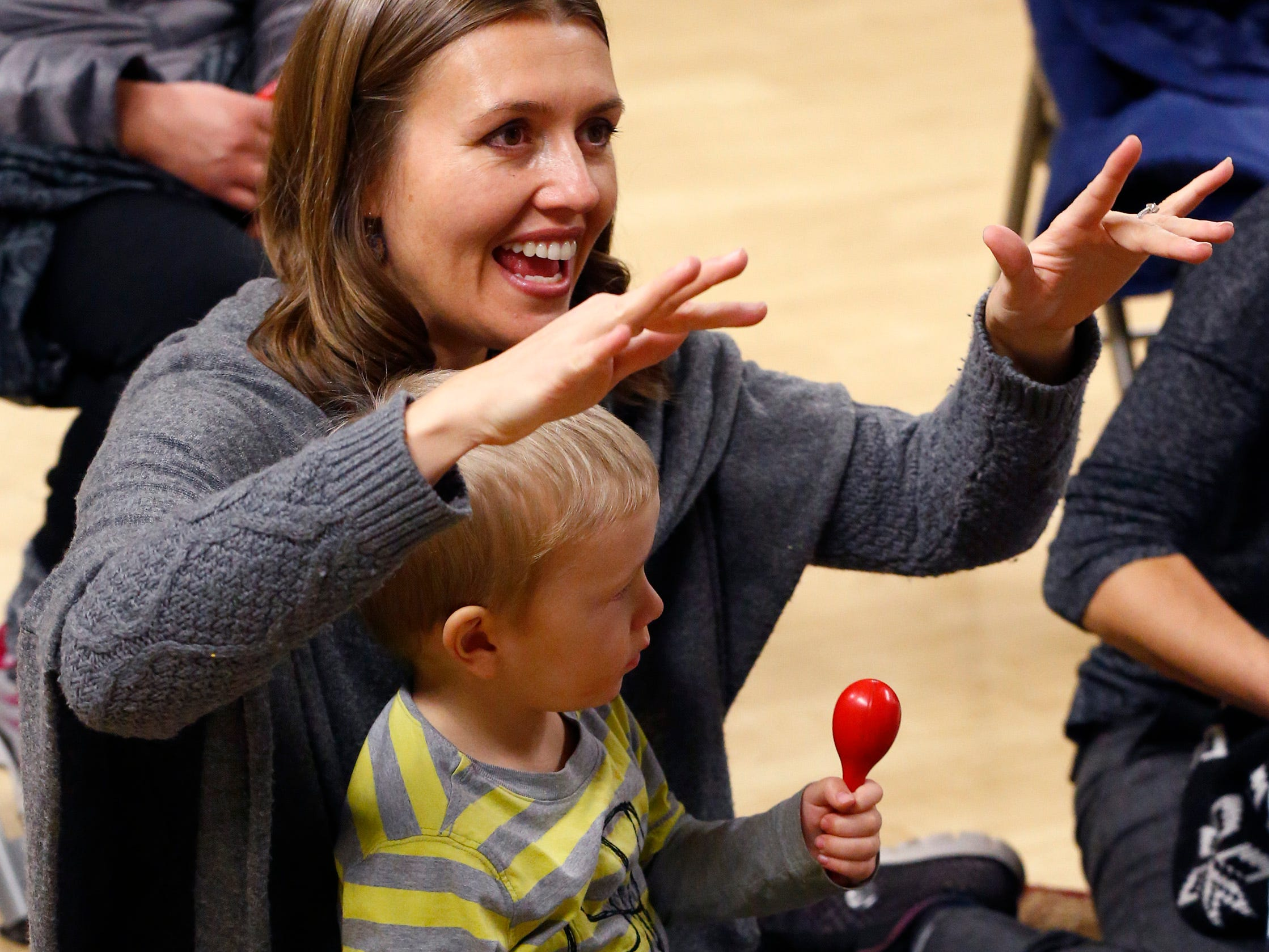 "Juliet Roger plays along with ""The Itsy Bitsy Spyder"" with son Forrest, 2, during a free parent and child music class on Jan. 17 offered by Nick Meske as a promotion for a six-week class to be offered through the Oconomowoc Recreation Department at the Community Center."