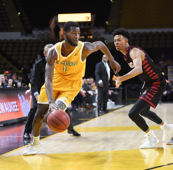 UW-Milwaukee guard DeAndre Abram (shown in an earlier game) led the Panthers with 19 points on Friday night.