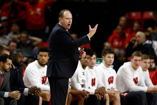 Wisconsin head coach Greg Gard gestures during the Badgers' game against Maryland on Monday. The Badgers have been hampered by first-half scoring droughts in Big Ten play.